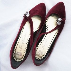 Juicy Couture Burgundy Velvet Pointed Toe Flats